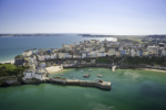 Tenby (view South with Caldey Island in background) Aerial Pembrokeshire South Towns & Villages